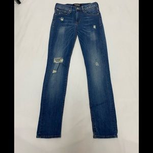 Express 0 Cropped Skinny Mid Rise Distressed Jeans